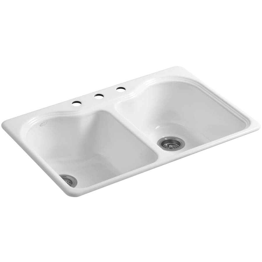 KOHLER Hartland 22-in x 33-in White Double-Basin Cast Iron Drop-in 3-Hole Residential Kitchen Sink