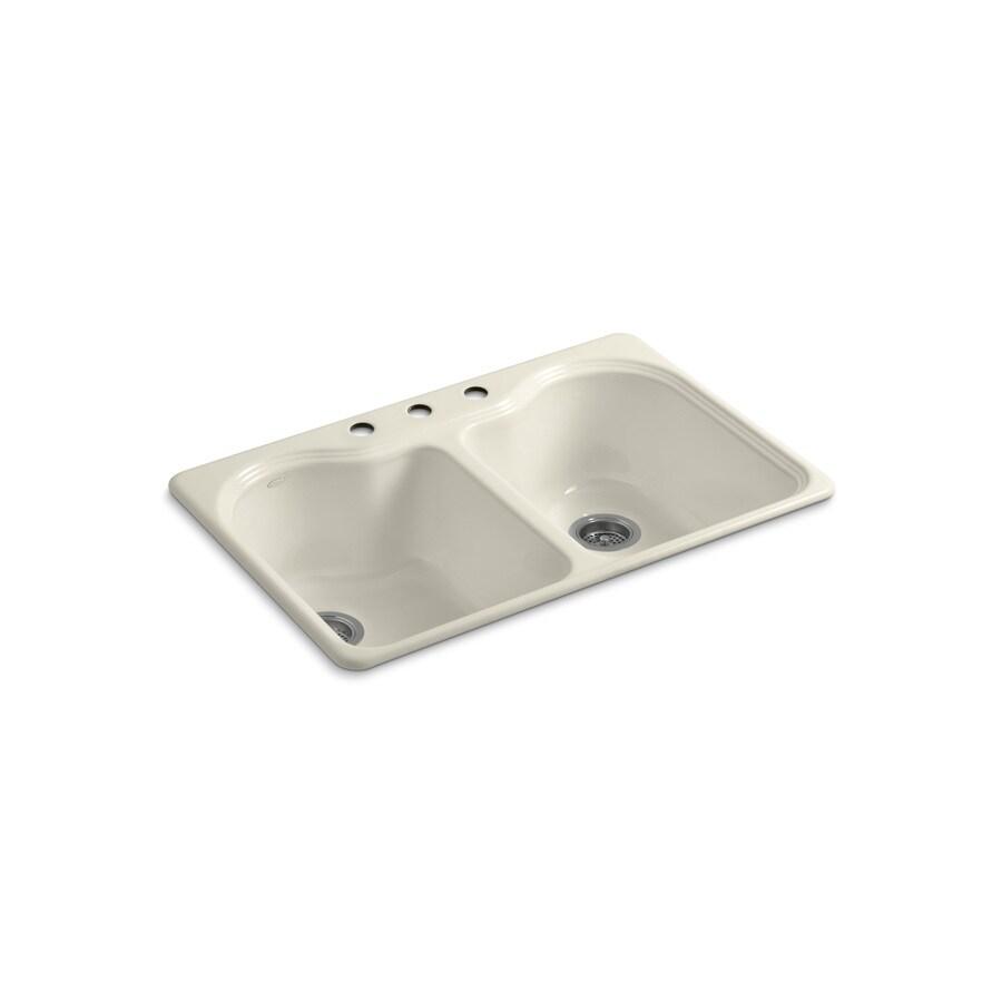 KOHLER Hartland 22-in x 33-in Almond Double-Basin Cast Iron Drop-in 3-Hole Residential Kitchen Sink