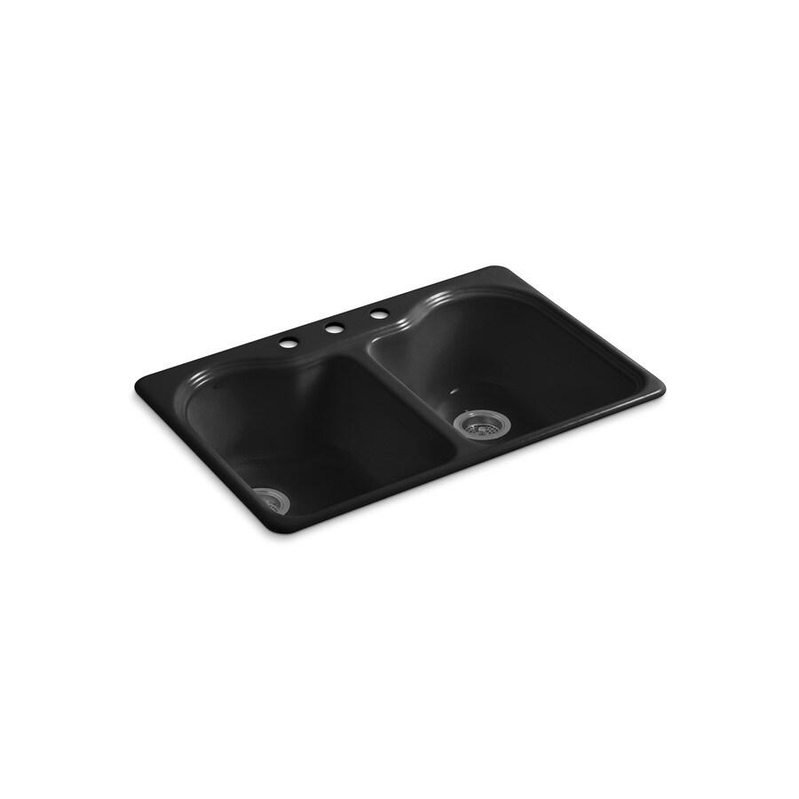 KOHLER Hartland 22-in x 33-in Black Black Single-Basin-Basin Cast Iron Drop-in 3-Hole Residential Kitchen Sink