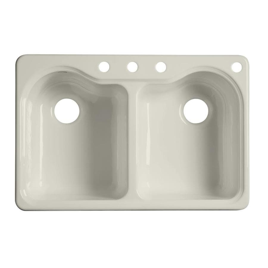 KOHLER Hartland 22-in x 33-in Biscuit Double-Basin Cast Iron Drop-in 4-Hole Residential Kitchen Sink