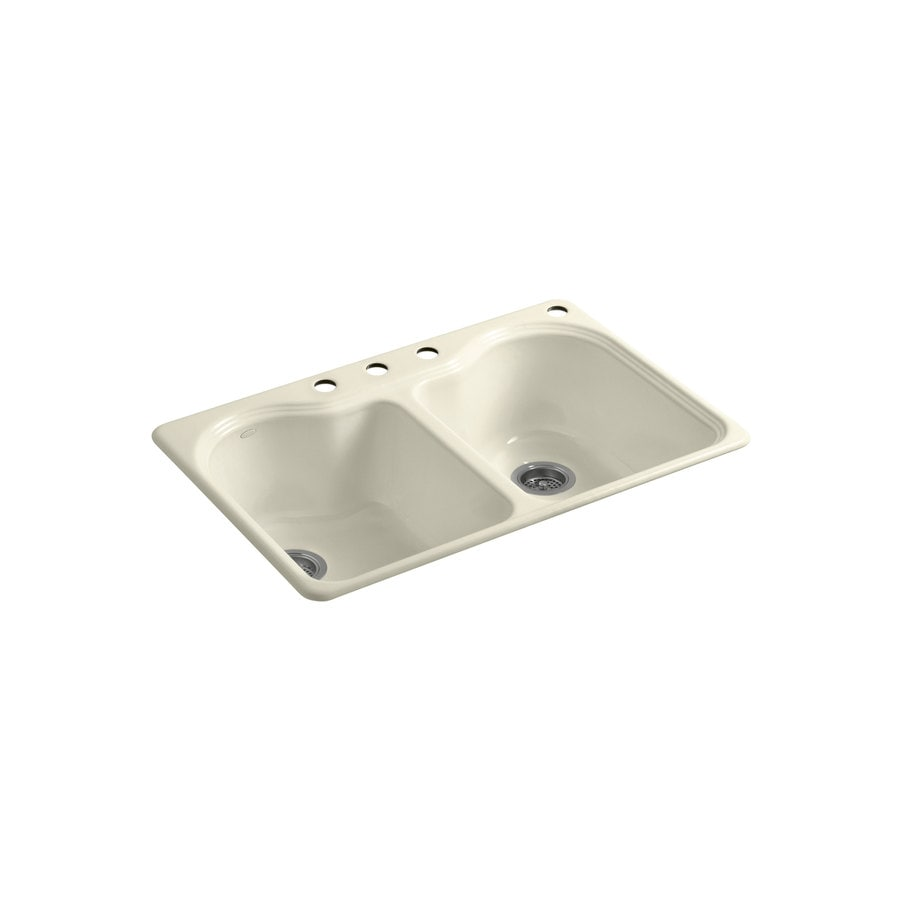 KOHLER Hartland 22-in x 33-in Cane Sugar Double-Basin Cast Iron Drop-in 4-Hole Residential Kitchen Sink