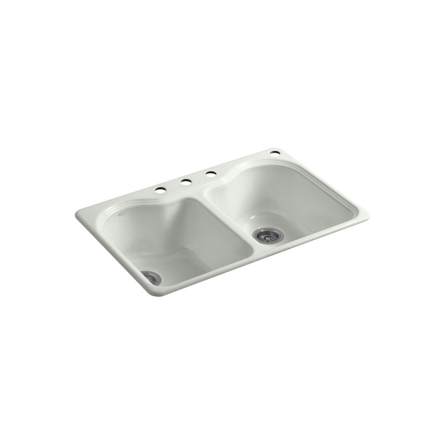 KOHLER Hartland 22-in x 33-in Sea Salt Double-Basin Cast Iron Drop-in 4-Hole Residential Kitchen Sink