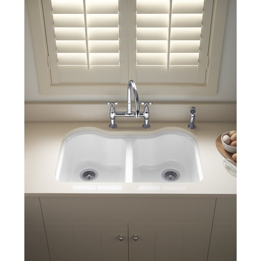 White Double Kitchen Sink : KOHLER Hartland 22-in x 33-in White Double-Basin Cast Iron Undermount ...