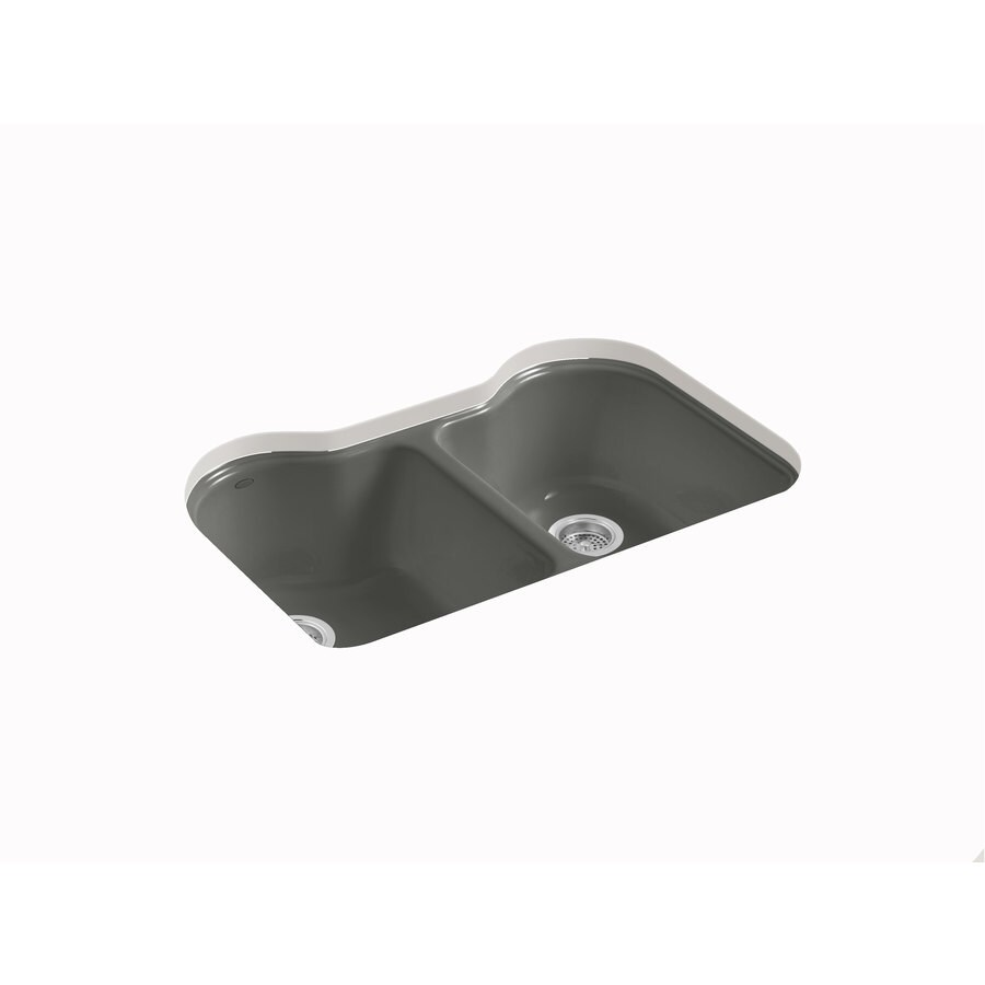 KOHLER Hartland 22-in x 33-in Thunder Grey Double-Basin Cast Iron Undermount 5-Hole Residential Kitchen Sink