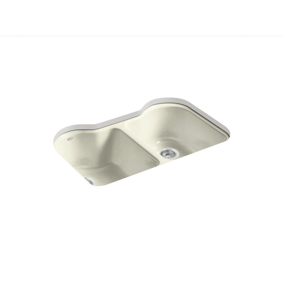 KOHLER Hartland 22-in x 33-in Cane Sugar Double-Basin Cast Iron Undermount 5-Hole Residential Kitchen Sink