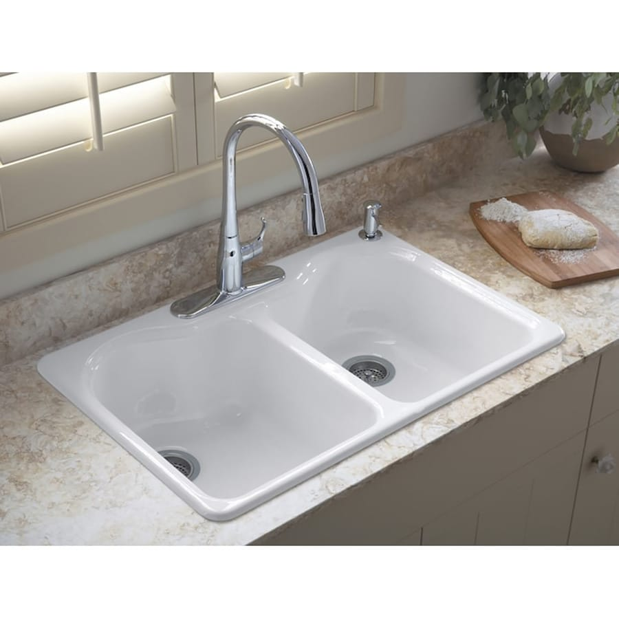 Shop kohler hartland 33 in x 22 in white double basin cast for Best kitchen faucet for double sink