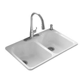 Kitchen sinks bar sinks at lowes farmhouse sinks kohler hartland 22 in x 33 in white double basin cast iron drop workwithnaturefo
