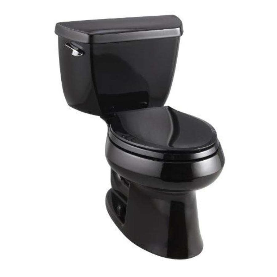 KOHLER Wellworth Black Black 1.28-GPF (4.85-LPF) 12-in Rough-In WaterSense Elongated 2-Piece Standard Height Toilet