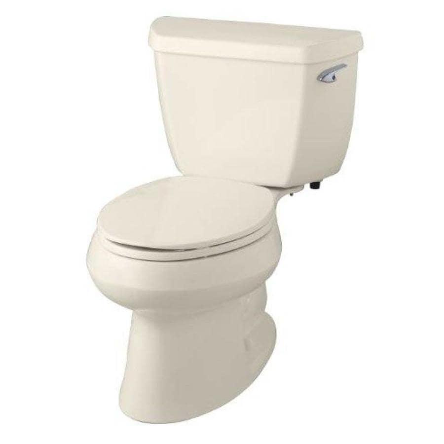 KOHLER Wellworth 1.28-GPF Almond WaterSense Elongated Standard Height 2-Piece Toilet