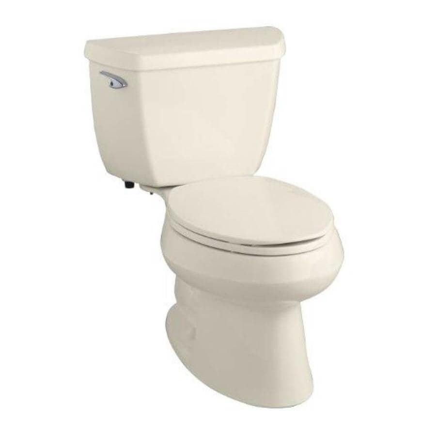 KOHLER Wellworth 1.28-GPF (4.85-LPF) Almond Elongated 2-piece Toilet