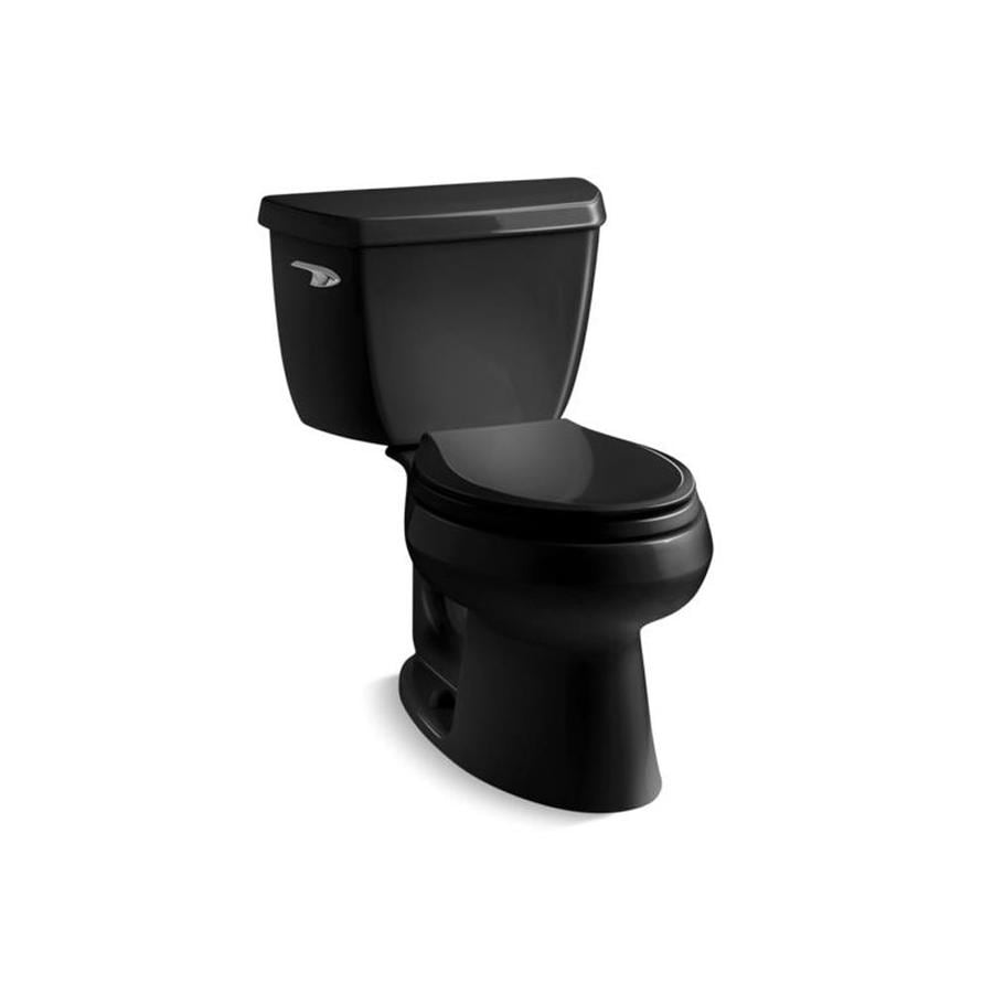 KOHLER Wellworth Black Black WaterSense Labeled  Elongated Standard Height 2-piece Toilet 12-in Rough-In Size
