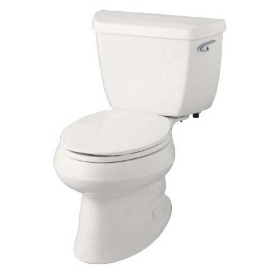 KOHLER Wellworth 1.28-GPF (4.85-LPF) White WaterSense Elongated Standard Height 2-Piece Toilet