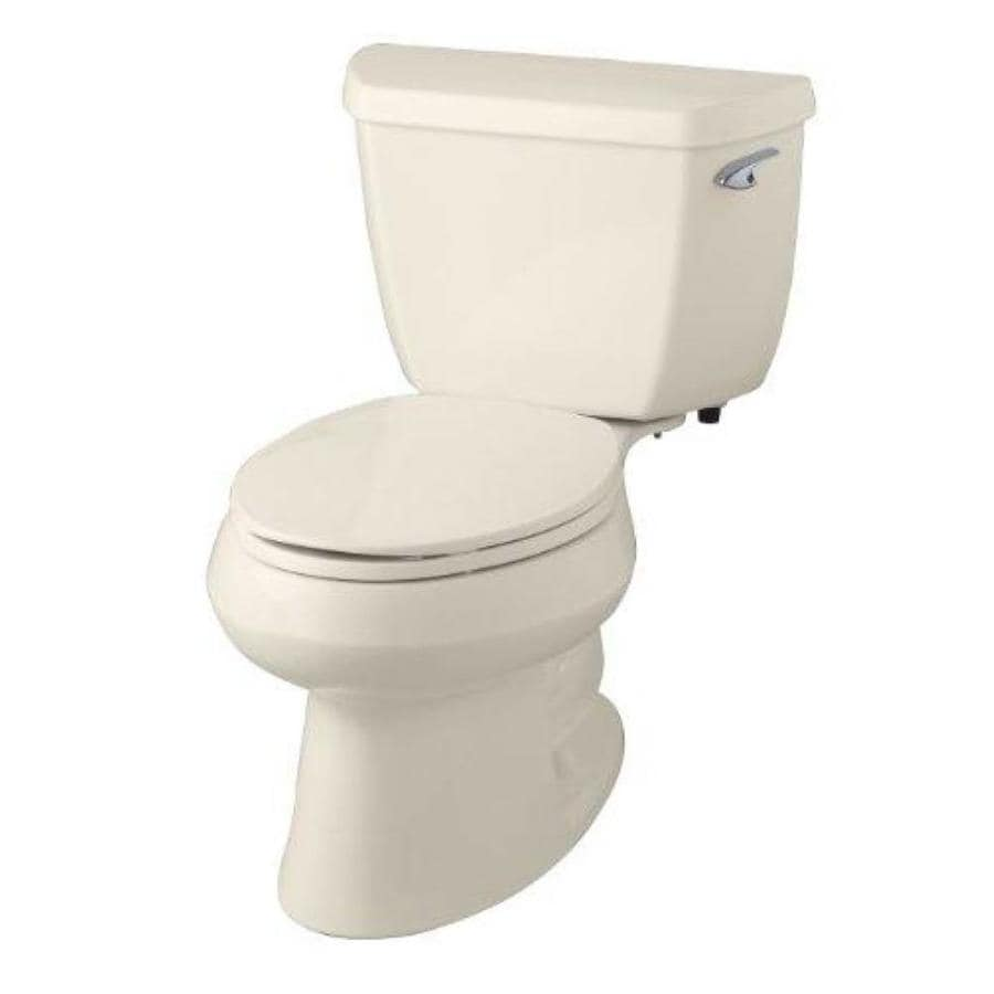 KOHLER Wellworth 1.28-GPF (4.85-LPF) Almond WaterSense Elongated Standard Height 2-Piece Toilet