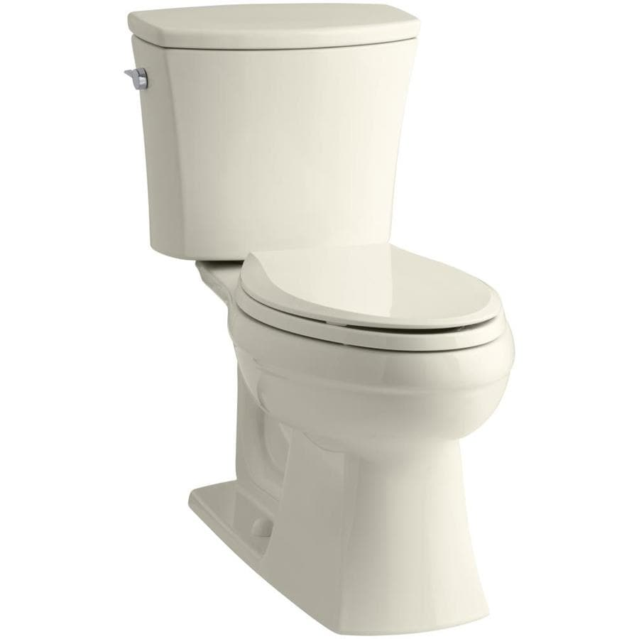 KOHLER Kelston Almond  Elongated Chair Height 2-piece Toilet 12-in Rough-In Size