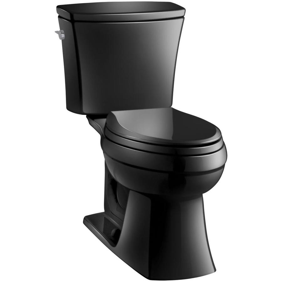 KOHLER Kelston 1.28-GPF (4.85-LPF) Black Elongated Chair Height 2-piece Toilet
