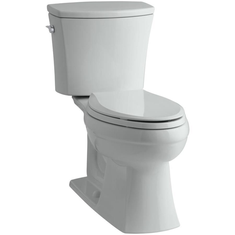 KOHLER Kelston 1.28-GPF Ice Grey WaterSense Elongated Chair Height 2-Piece Toilet