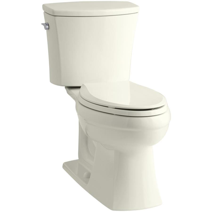 KOHLER Kelston Biscuit WaterSense Labeled  Elongated Chair Height 2-piece Toilet 12-in Rough-In Size