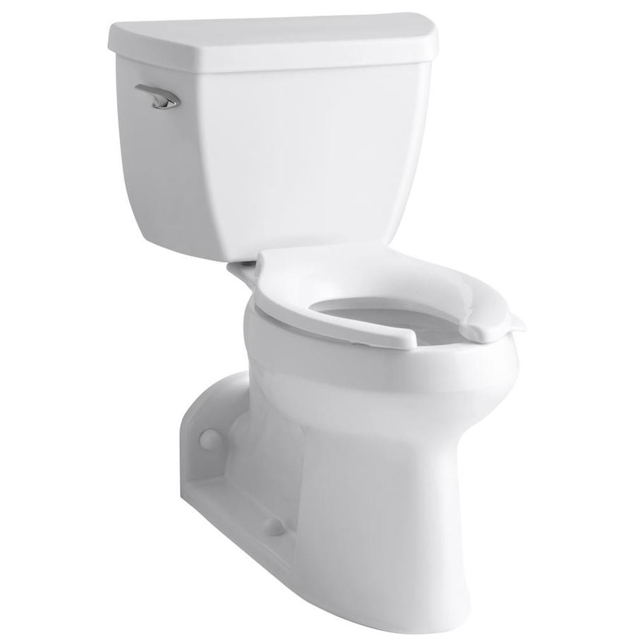 KOHLER Barrington 1.0-GPF (3.79-LPF) White WaterSense Elongated Chair Height 2-Piece Toilet