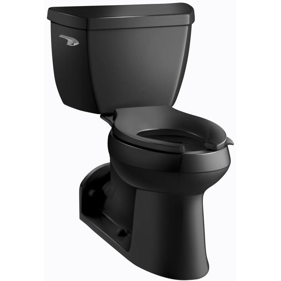 KOHLER Barrington 1-GPF Black Black WaterSense Elongated Chair Height 2-Piece Toilet