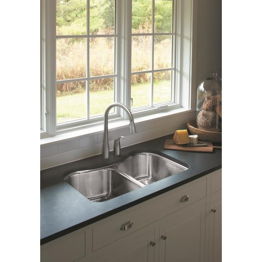 KOHLER Staccato 19.56-in x 31.62-in Stainless Steel Double-Basin Undermount Residential Kitchen Sink