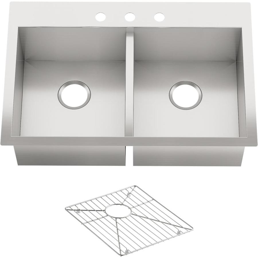 KOHLER Vault 22-in x 33-in Stainless Steel Double-Basin Undermount 3-Hole Residential Kitchen Sink