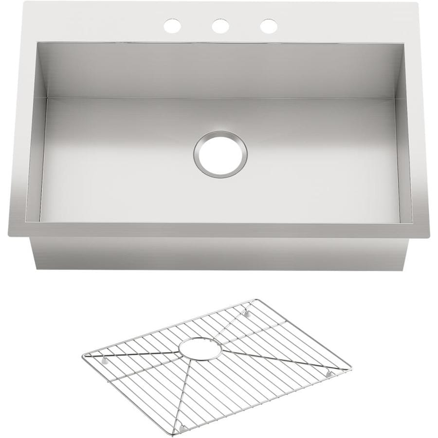 KOHLER Vault 22-in x 33-in Stainless Steel Single-Basin-Basin Stainless Steel Drop-in 3-Hole Residential Kitchen Sink