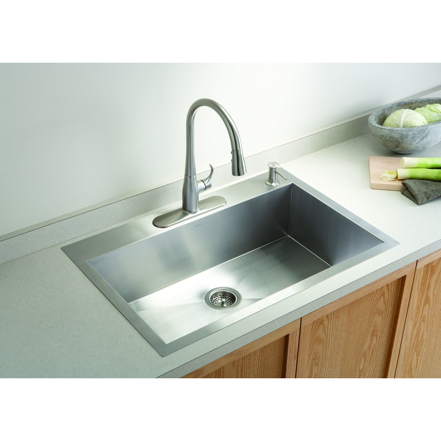 KOHLER Vault 22-in x 33-in Stainless Steel 1 Stainless Steel Undermount 4-Hole Residential Kitchen Sink
