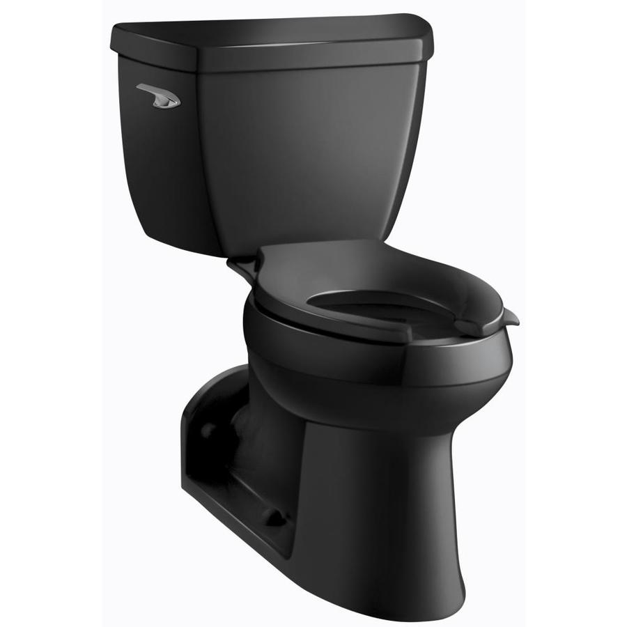KOHLER Barrington Black Black WaterSense Labeled  Elongated Chair Height 2-piece Toilet 4-in Rough-In Size