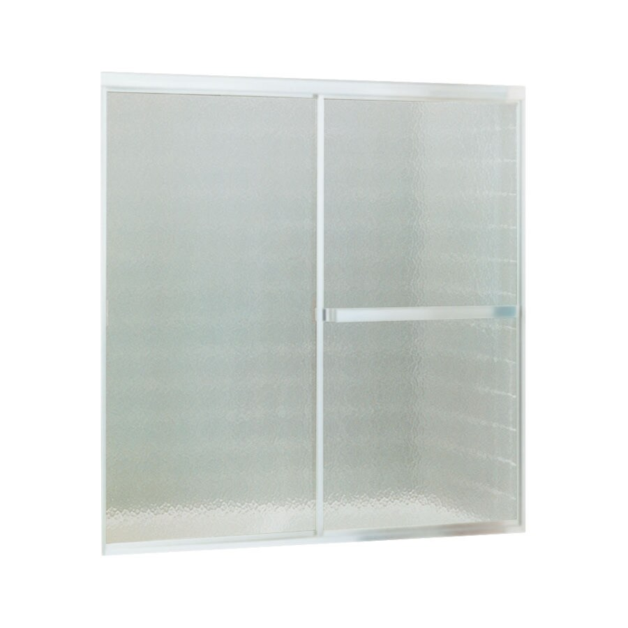 Sterling Standard 59-in W x 56.4375-in H Matte Chrome Framed Bathtub Door