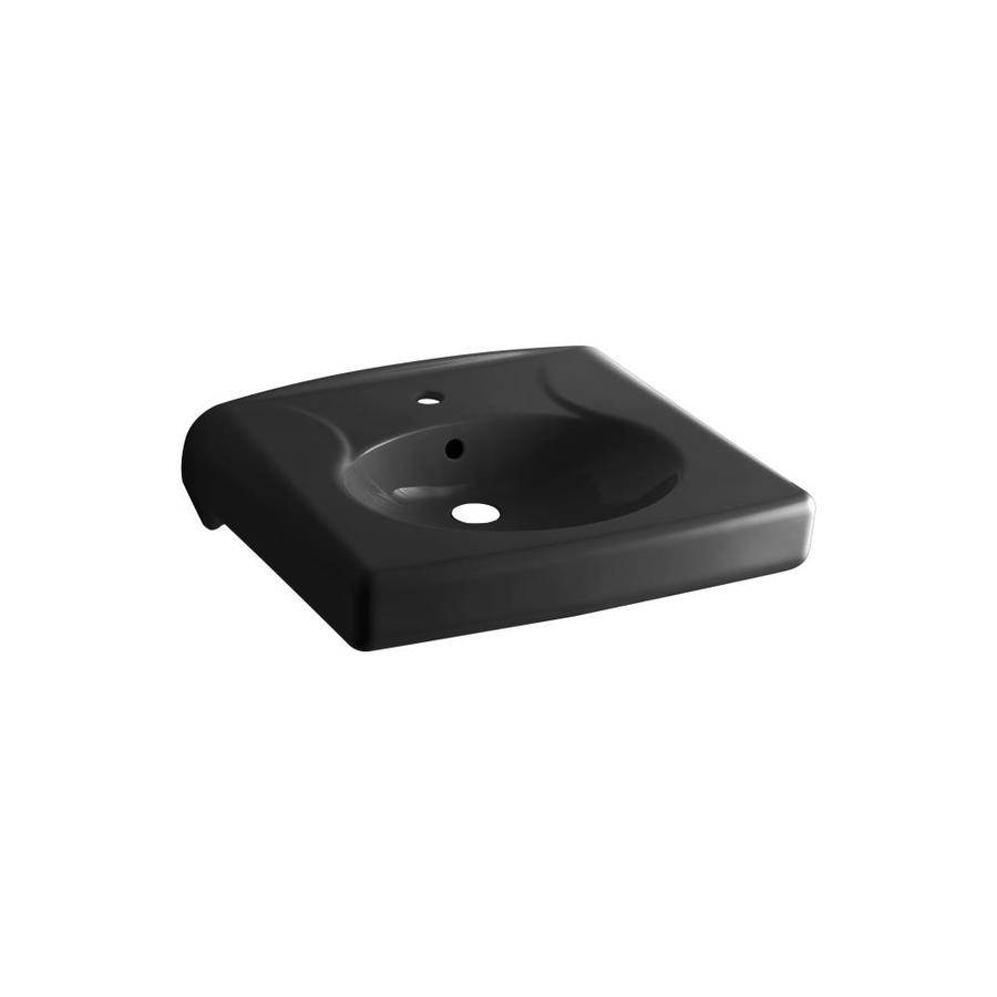 KOHLER Brenham Black Wall-Mount Rectangular Bathroom Sink with Overflow