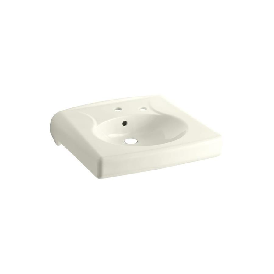 KOHLER Brenham Biscuit Wall-Mount Rectangular Bathroom Sink with Overflow