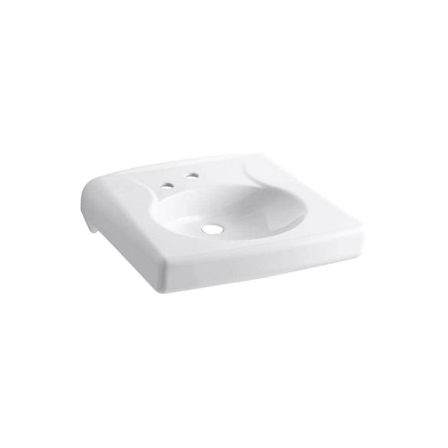 KOHLER Brenham White Wall-Mount Rectangular Bathroom Sink