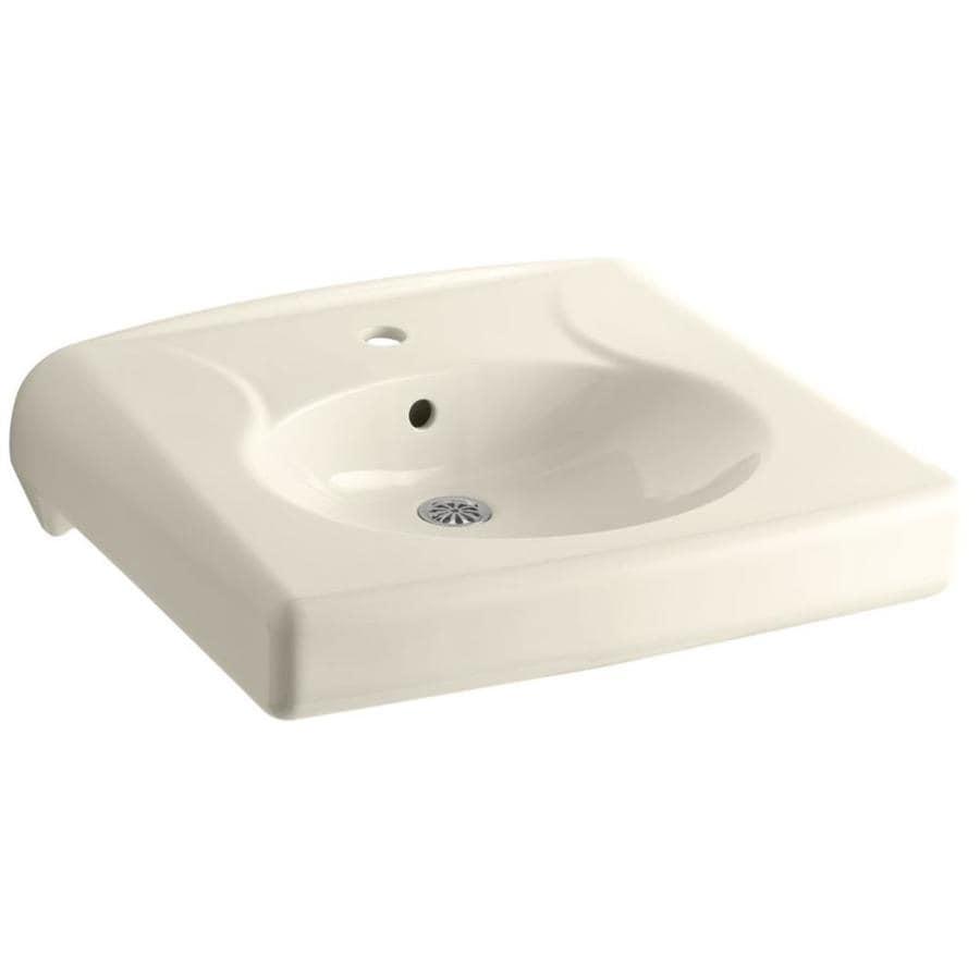 KOHLER Brenham Almond Wall-Mount Rectangular Bathroom Sink with Overflow