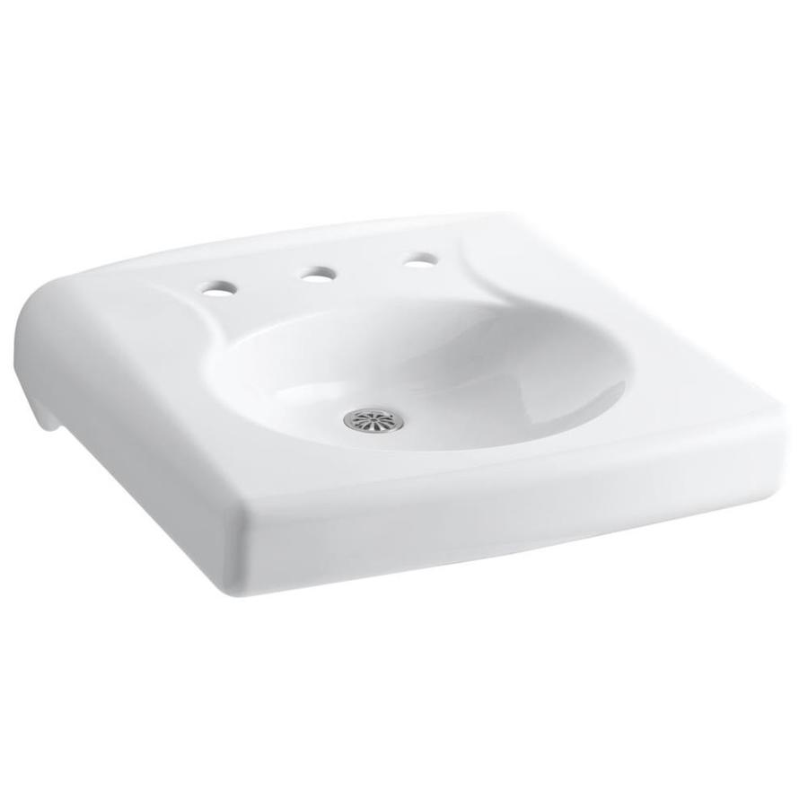 KOHLER Brenham White Wall-Mount Rectangular Bathroom Sink