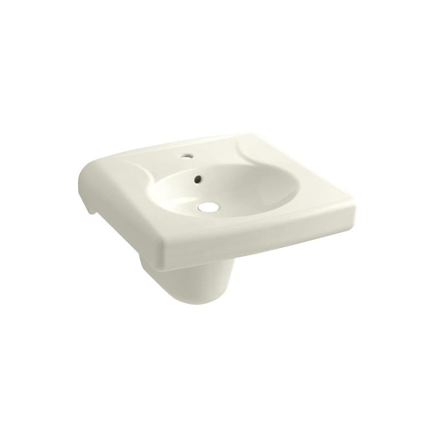 KOHLER Brenham Biscuit Wall-Mount Rectangular Bathroom Sink with Overflow
