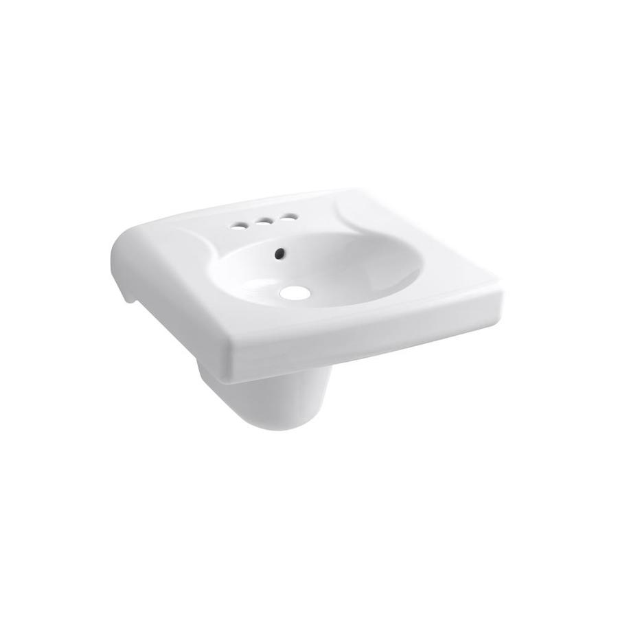 KOHLER Brenham White Wall-Mount Rectangular Bathroom Sink with Overflow