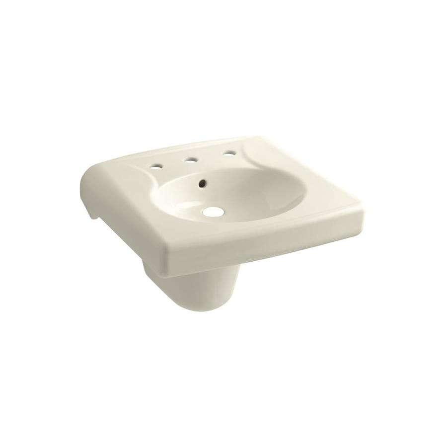 KOHLER Brenham Almond Wall-Mount Rectangular Bathroom Sink with Overflow