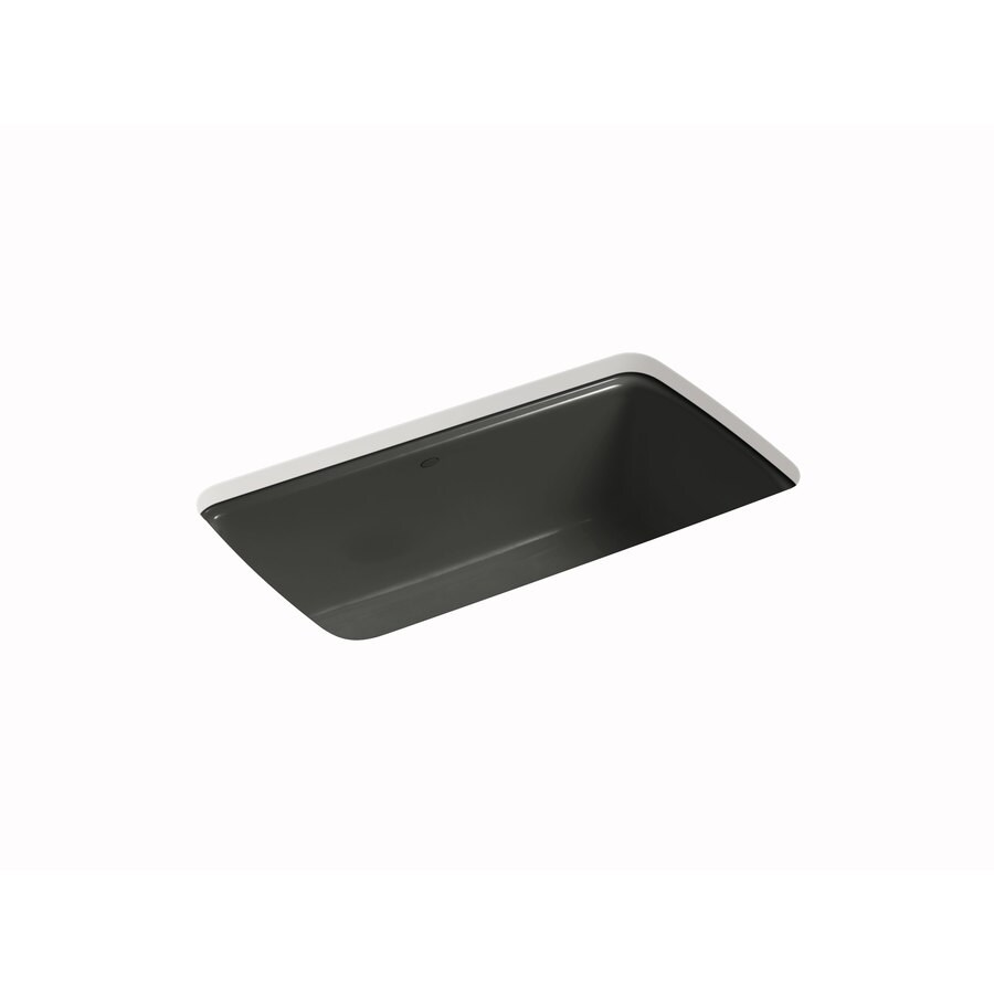 KOHLER Cape Dory 22-in x 33-in Caviar Single-Basin Cast Iron Undermount 5-Hole Residential Kitchen Sink