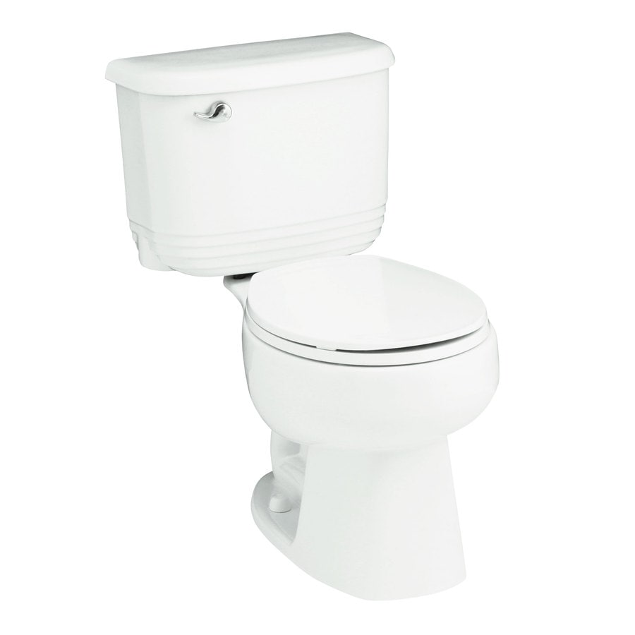 Sterling Riverton White WaterSense Labeled Dual Round Chair Height 2-piece Toilet 12-in Rough-In Size
