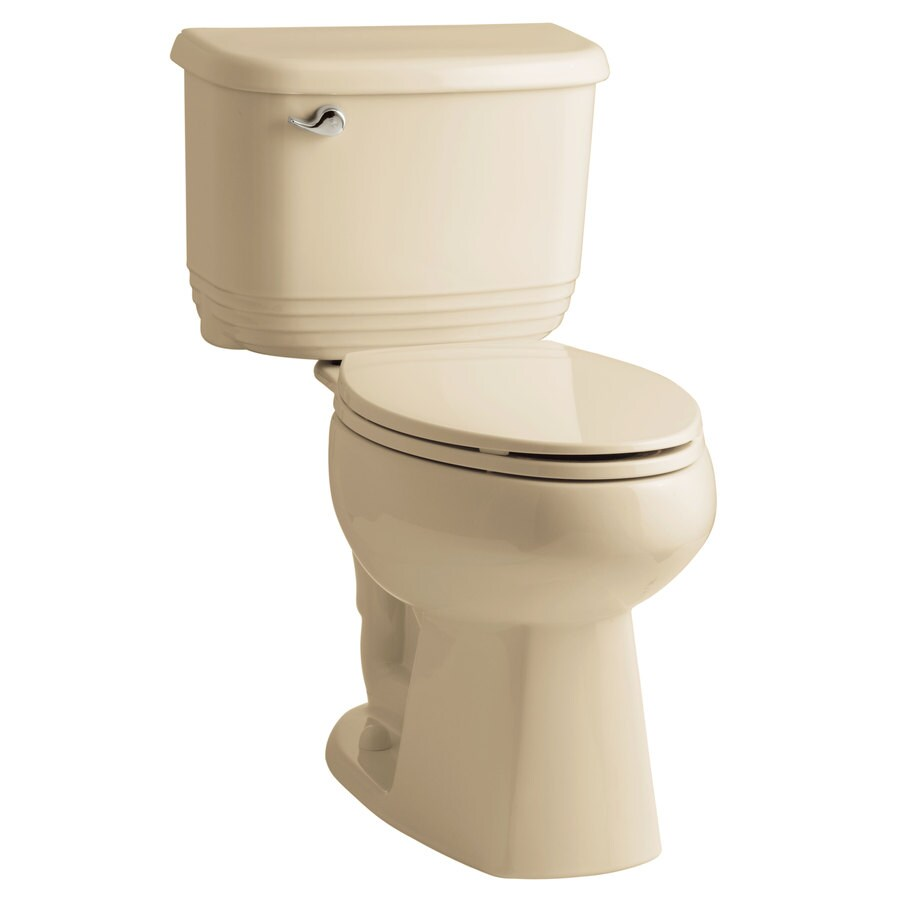 Sterling Riverton Almond 1.28-GPF 12-in Rough-in WaterSense Elongated Dual-Flush 2-Piece Comfort Height Toilet