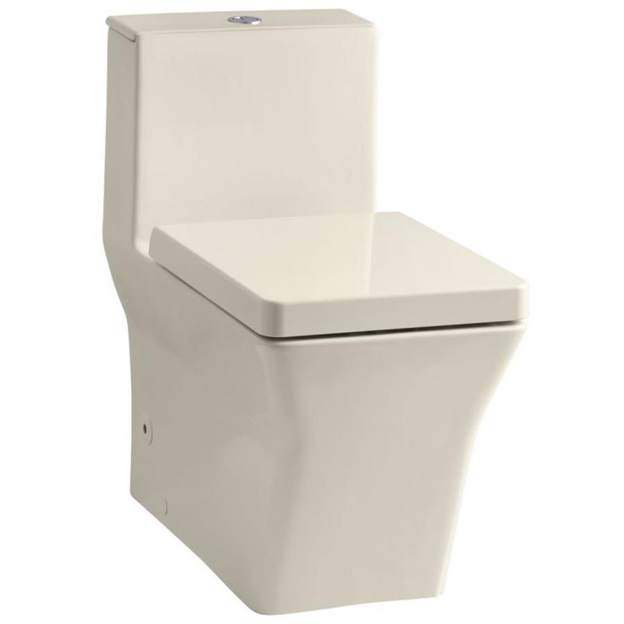 KOHLER Reve Almond WaterSense Labeled  Elongated Standard Height 1-piece Toilet 12-in Rough-In Size