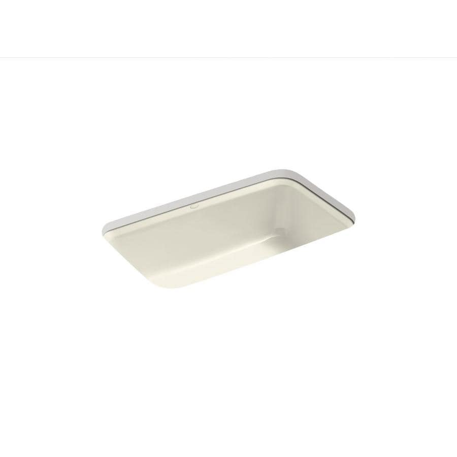 KOHLER Bakersfield 22-in x 31-in Almond Single-Basin Cast Iron Undermount 5-Hole Residential Kitchen Sink