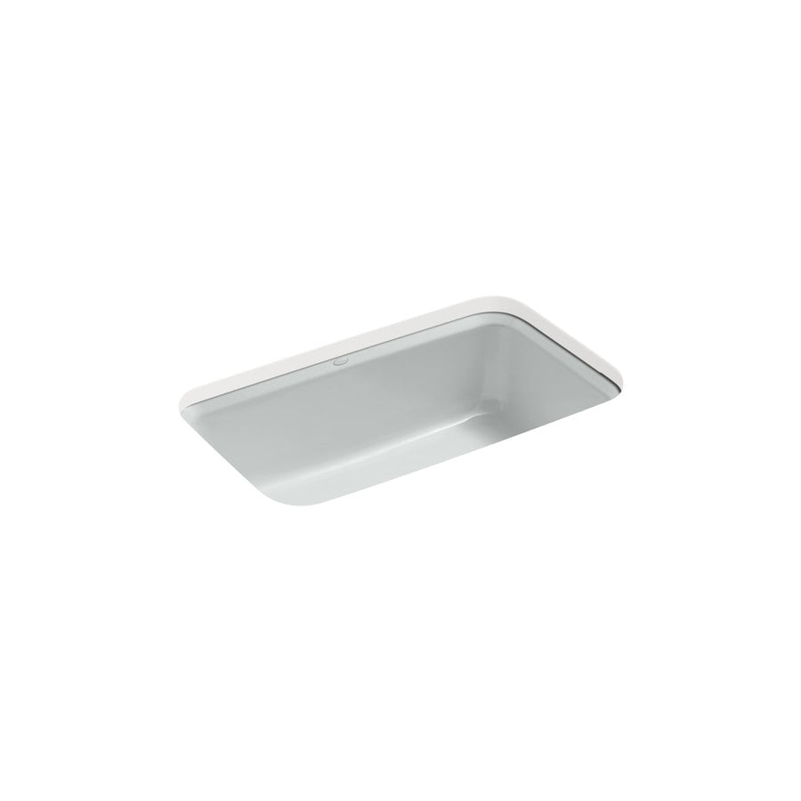 KOHLER Cape Dory 22-in x 33-in Ice Grey Single-Basin Cast Iron Undermount 5-Hole Residential Kitchen Sink