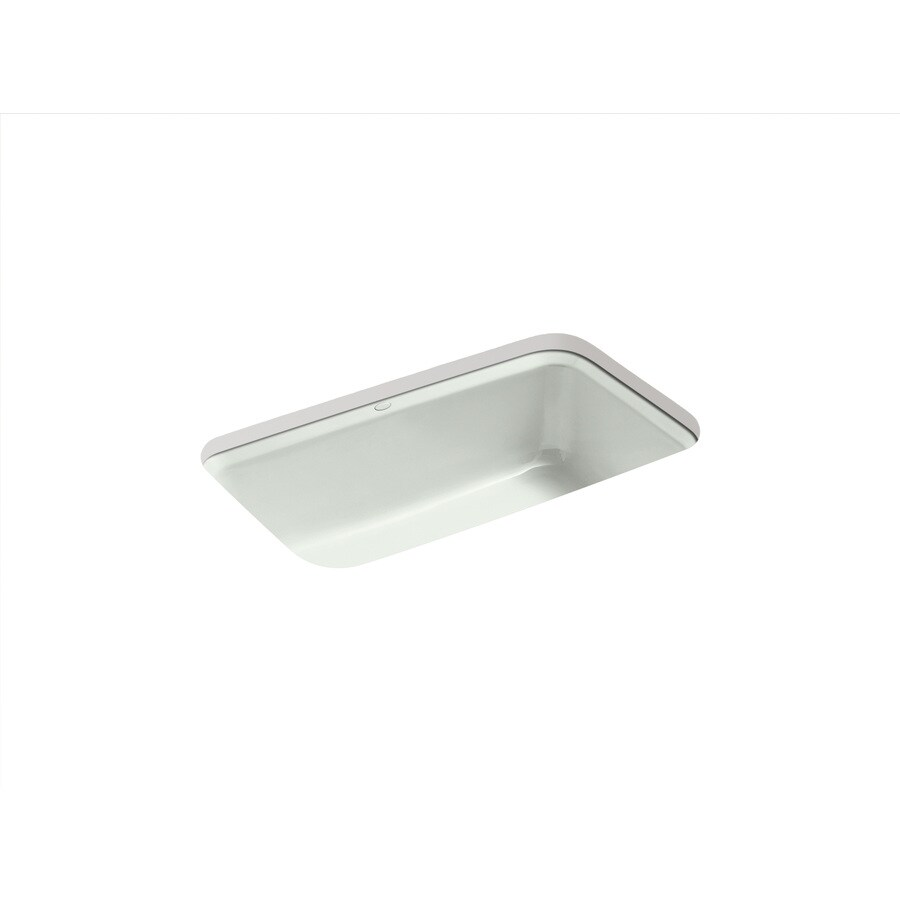 KOHLER Bakersfield 22-in x 31-in Sea Salt 1 Cast Iron Undermount 5-Hole Residential Kitchen Sink