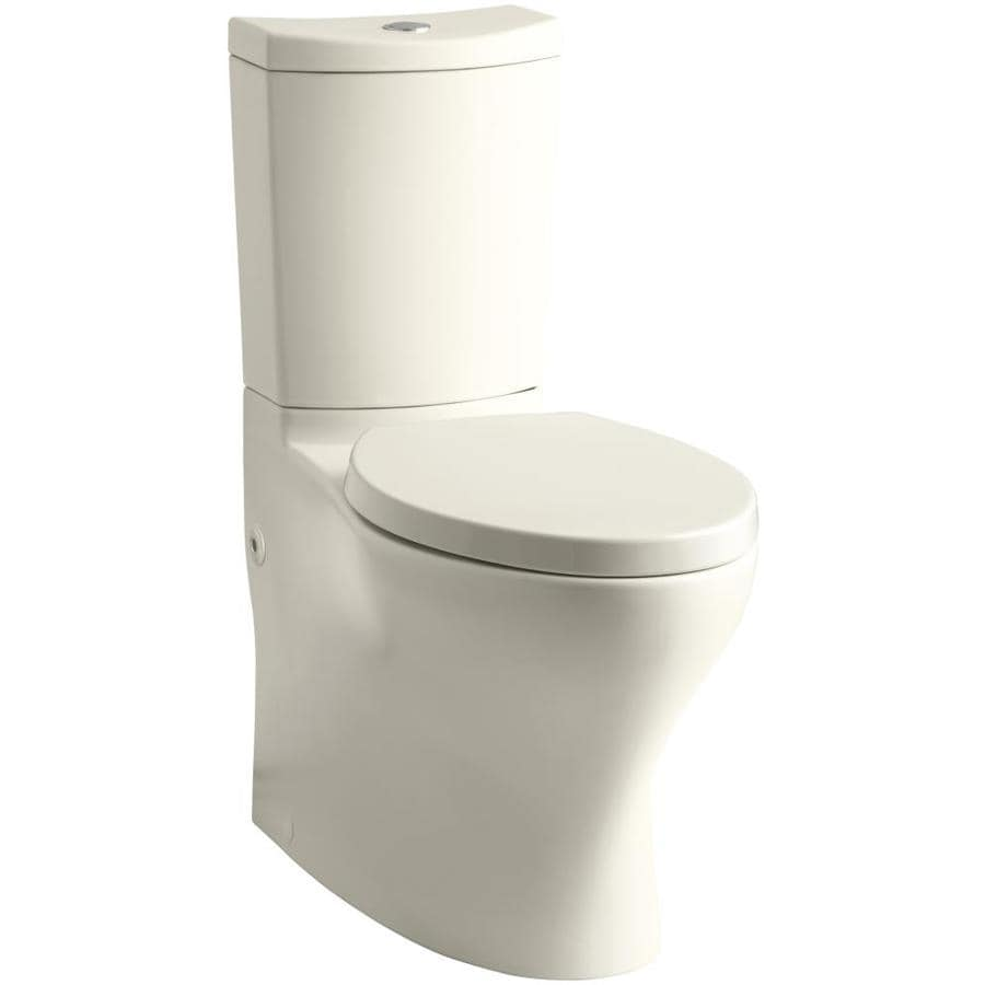 KOHLER Persuade 1.6-GPF (6.06-LPF) Almond WaterSense Dual-Flush Elongated Standard Height 2-Piece Toilet