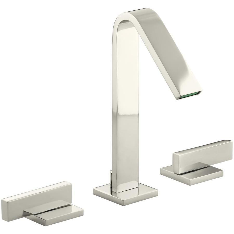 KOHLER Loure Vibrant Polished Nickel 2-Handle Widespread WaterSense Bathroom Faucet (Drain Included)