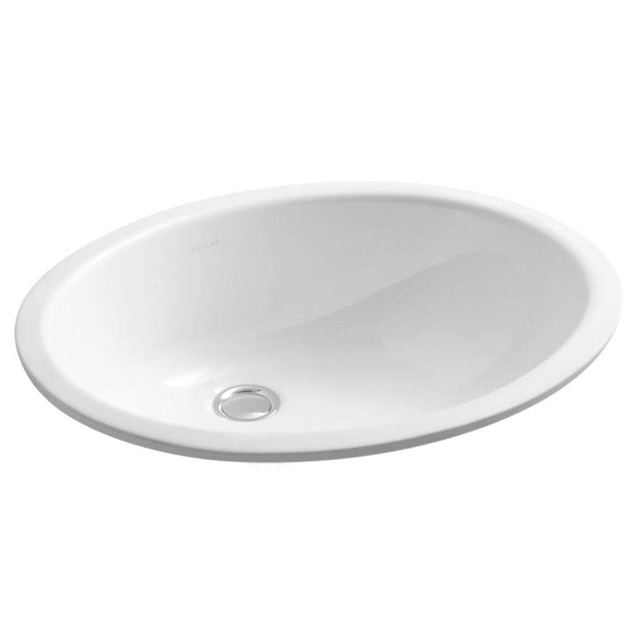 Shop KOHLER Caxton White Undermount Oval Bathroom Sink with Overflow ...