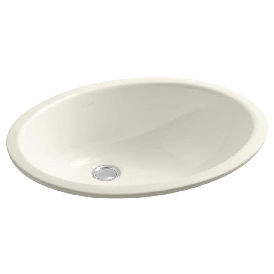 Shop kohler caxton biscuit undermount oval bathroom sink at lowes com - Kohler Caxton Biscuit Undermount Oval Bathroom Sink With Overflow