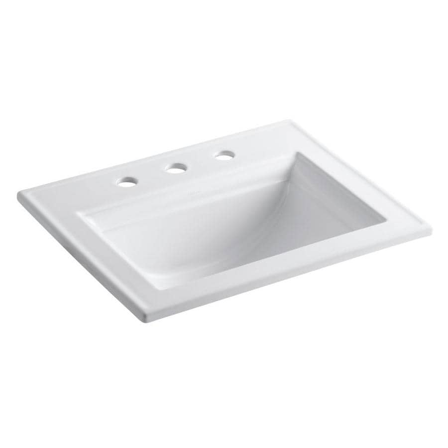 shop bathroom sinks at lowescom - kohler memoirs white dropin rectangular bathroom sink with overflow