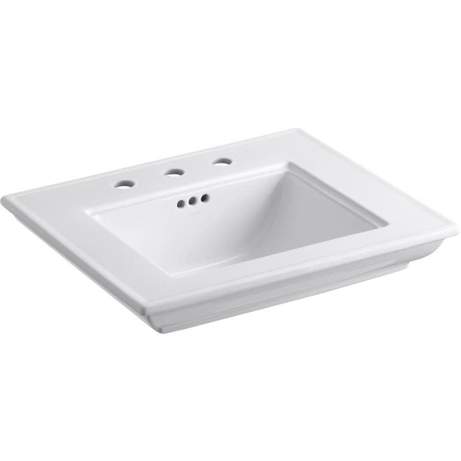 KOHLER Memoris 24 In L X 19.75 In W White Fire Clay Rectangular Pedestal
